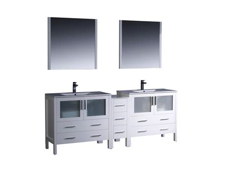84 inch sink bathroom vanity in white with ceramic