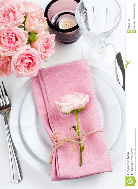 beautiful table beautiful festive table setting with roses royalty free