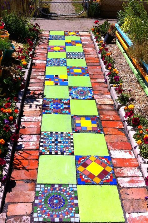 very cool and funky bright coloured mosaic planter with top 10 creative footpath designs room bath