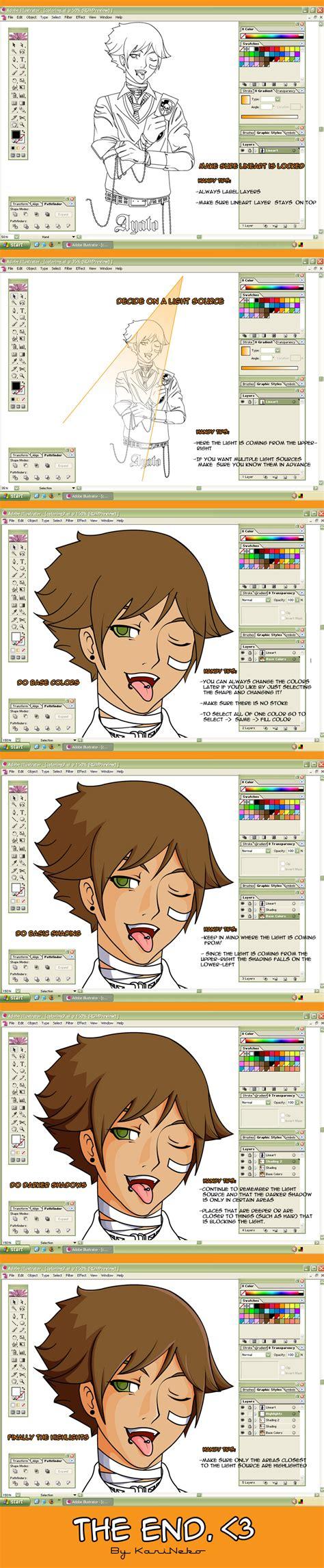 tutorial shading illustrator quick cell shading tutorial by karineko on deviantart