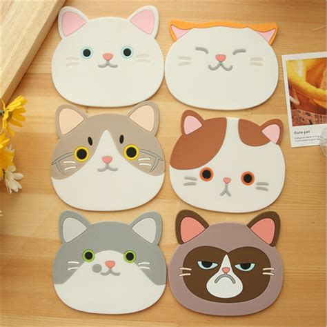 6 designs cat cup mat coaster slip insulation