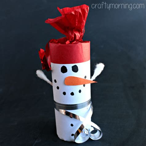 Snowman Toilet Paper Roll Craft - 20 fantastic things to make with paper rolls this