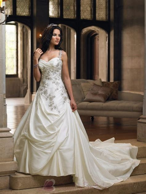 gorgeous ball wedding dresses with straps for bridal
