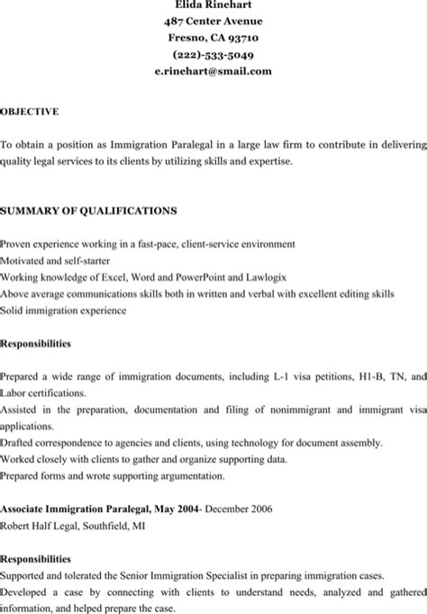Immigration Paralegal Resume by Paralegal Resume Templates For Free Formtemplate