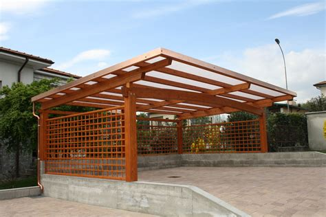 This modern wooden carport is design like a bee hive, unless this is rectangular