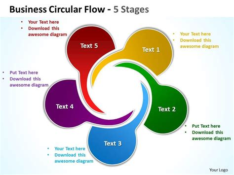 Business Circular Flow 5 Stages Powerpoint Templates Graphics Slides 0712 Powerpoint Powerpoint Graphic Templates