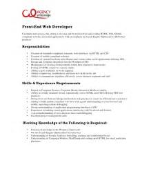 Front End Developer Cover Letter by Entry Level Front End Web Developer Description