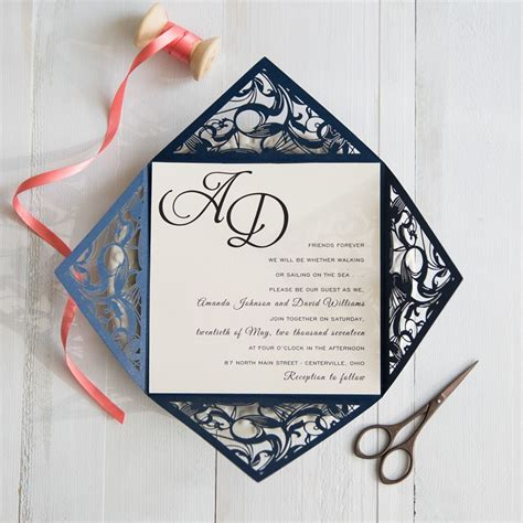 Navy Blue And Coral Wedding Invitations