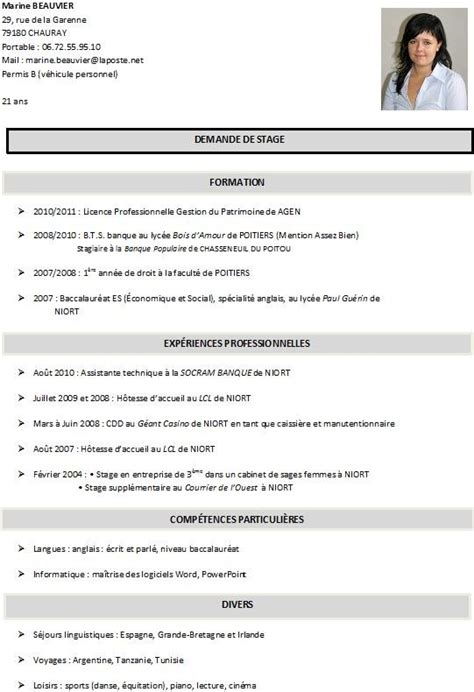 Création De Cv by Exemple De Cv 233 Tudiant Licence Sle Resume