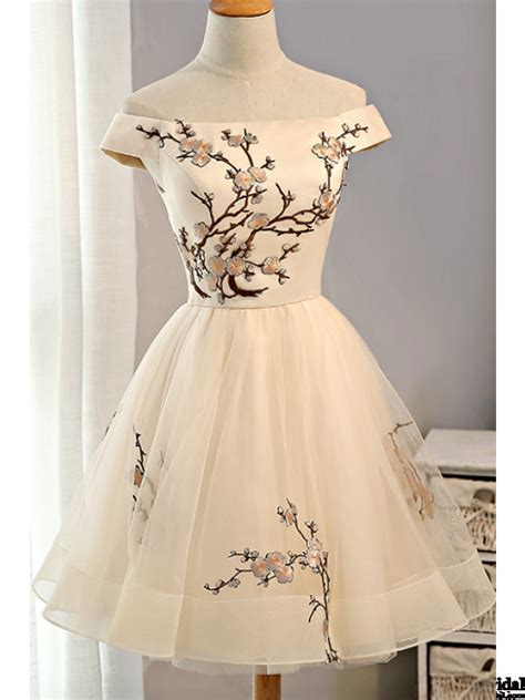 Cap Sleeves Embroidery Tulle Homecoming Dresses Party