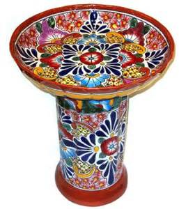 colorful bird baths garden colorful talavera birdbath item 100792