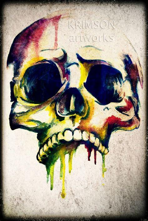 watercolor skull tattoo krimson skulls don t why and skeleton