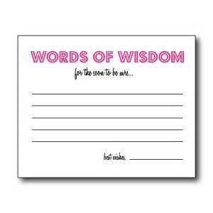 Bridal Shower Words Of Wisdom Cards Printable Bridal Shower Games A Noon Affair Pinterest