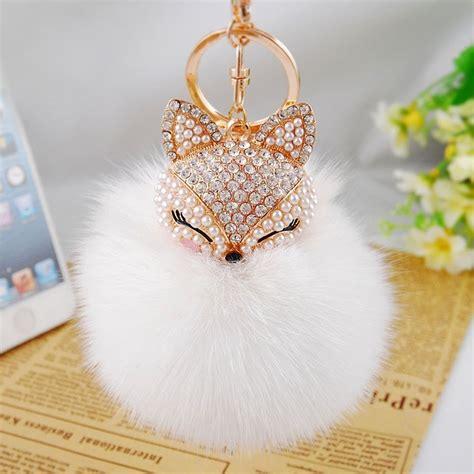 Sale Miniso Fluffy Pouch fox fur pompoms keychain bag fluffy big fur charm