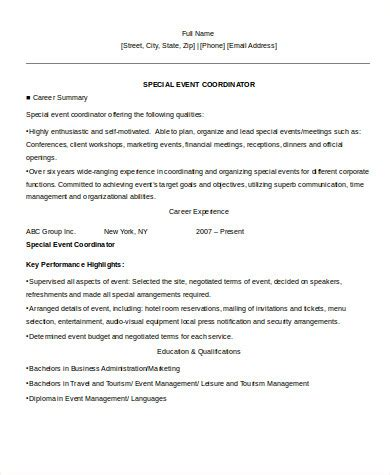 sle event coordinator resume 8 exles in word pdf