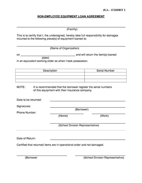 equipment agreement template 10 best images of employee loan agreement employee loan