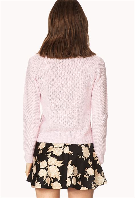 Forever21 Soft Knit T3010 3 forever 21 soft waffle knit sweater in pink lyst