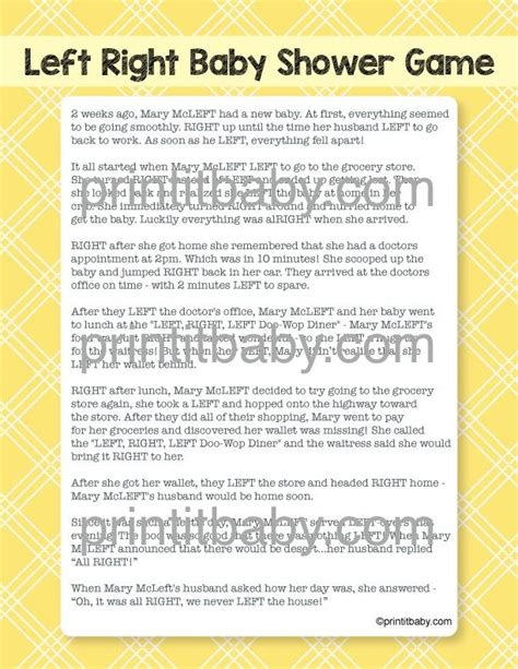 Left Right Baby Shower Printable by 151 Best Images About Baby Shower On