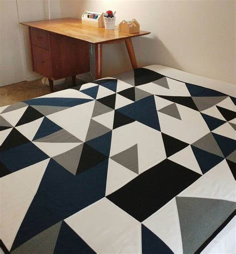 Contemporary Patchwork Quilts - modern geometric quilt patchwork quilt size quilt throw