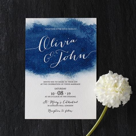 twilight wedding invitation card sweepingly stunning blue invite card watercolour design