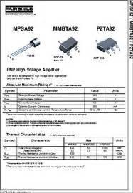 transistor mpsa92 datasheet mpsa92 datasheet pnp high voltage lifier
