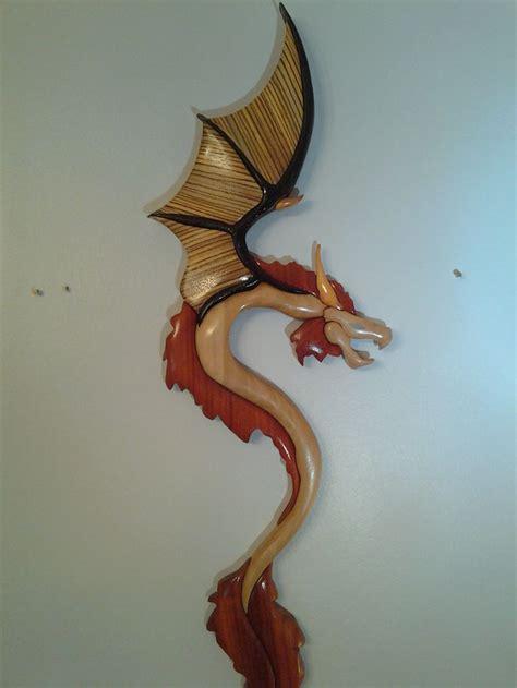 dragon intarsia intarsia scroll  patterns wood crafts