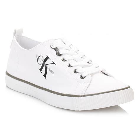 Calvin Klein Shoes calvin klein mens trainers black white arnorld canvas lace
