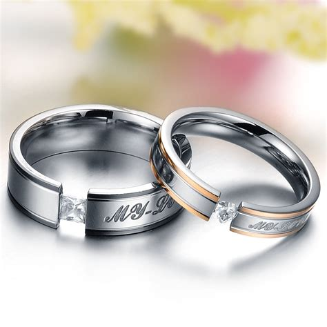 titanium steel promise ring wedding bands matching