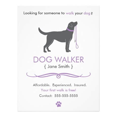 Dog Walker Walking Business Flyer Template Zazzle Walking Flyer Template Free