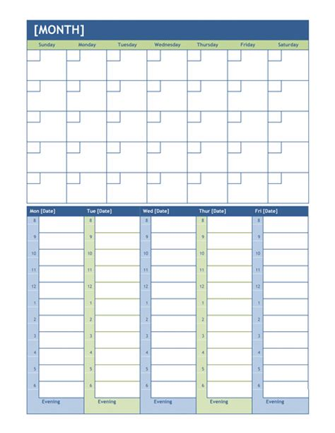 monthly and weekly planning calendar office templates