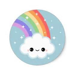 Kawaii rainbow cloud classic round sticker zazzle