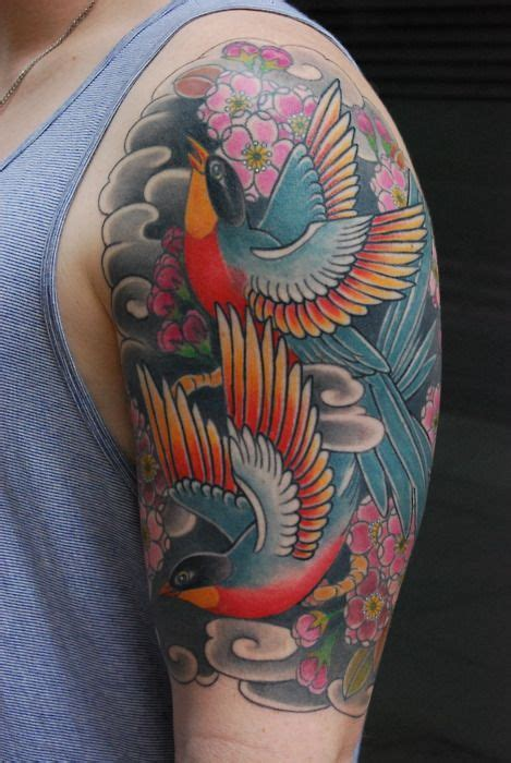 japanese style shoulder birds tattoos