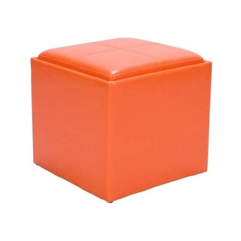 orange leather ottoman trent home ladd faux leather storage cube ottoman in