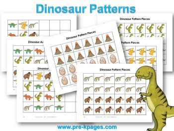 pattern games pre k dinosaur theme preschool lesson plans and activities