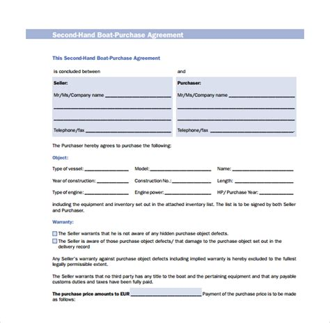 sle boat purchase agreement 6 free documents