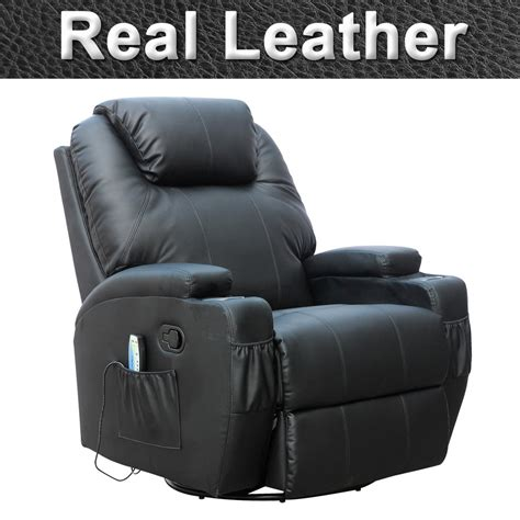 Cinemo Real Leather Recliner Chair Rocking Massage Swivel Leather Swivel Rocker Recliner Chair