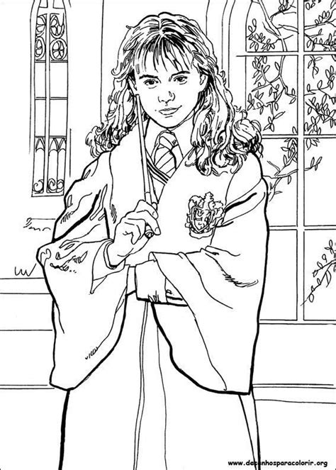harry potter ron and hermione coloring pages hermione com varinha desenhos para colorir