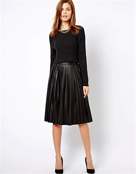 warehouse warehouse leather look pleated midi skirt at asos