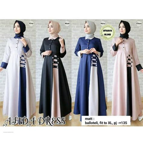 Promo Dress Gaun Wanita Afida Dress Baju Murah Afida Dress Grosir Baju Muslim Pakaian