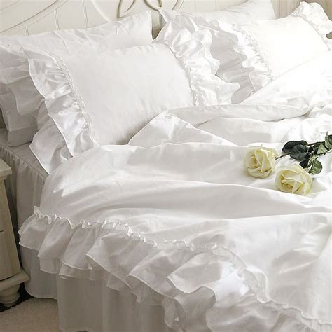 white ruffle king comforter romantic white falbala ruffle lace bedding sets princess duvet cover set solid color comforter
