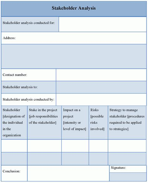 analysis template for stakeholder format of stakeholder