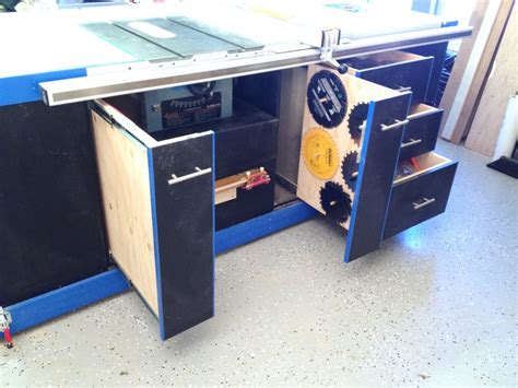 table saw cabinet the ultimate table saw cabinet by drew rock n h
