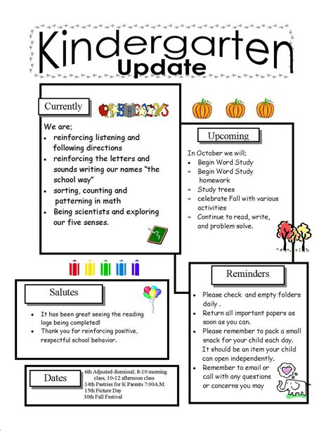 Template Kindergarten Newsletter Template Newsletter Template Size