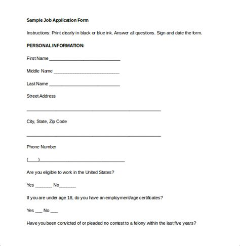 employment application form template free word pdf