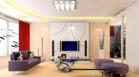 Living Room Tv Wall by White Tv Wall And Purple Sofa For Living Room 3d House