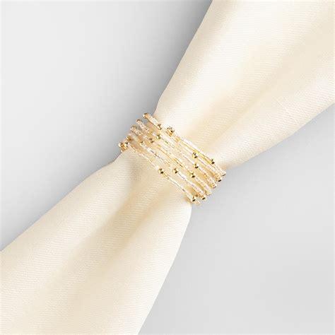 napkin rings gold beaded spiral napkin ring set of 4 world market