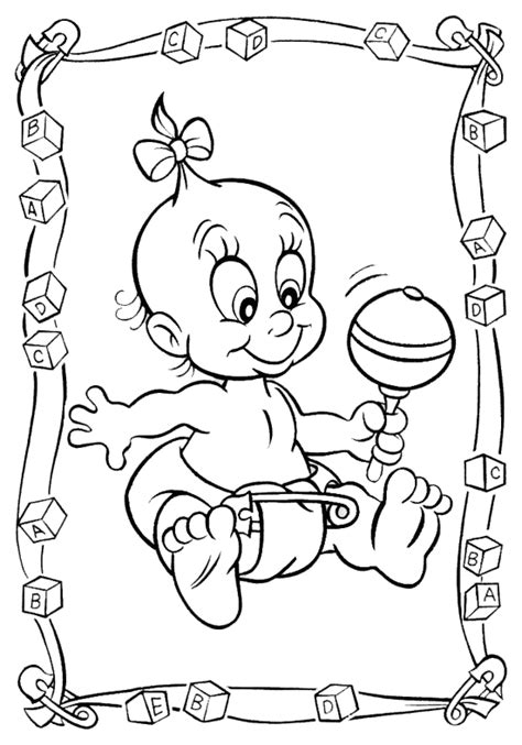 coloring page it s a baby girl baby kinder kleurplaten