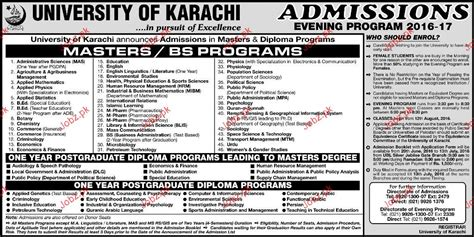 Mba Evening Program In Karachi by Of Karachi Admission In Master Bs Programs