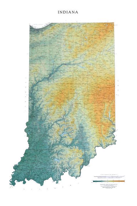 physical map of indiana indiana wall map a spectacular physical map of indiana
