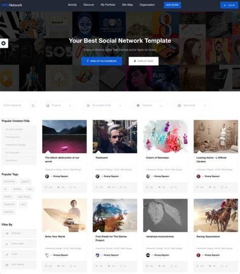 24 Social Media Website Themes Templates Free Premium Templates Social Network Website Design Template